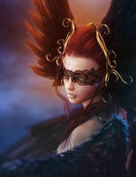 Red Haired Girl with Mask + Feathers, Fantasy Art by shibashake