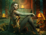 Beautiful Fantasy Woman + Gold Dragons, Iray Image