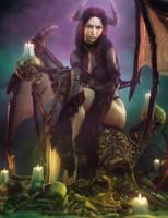 Sexy Devil Girl Pin-Up + Skeletons, Fantasy 3D-Art by shibashake