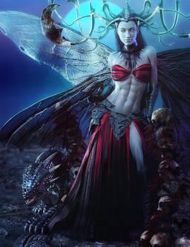 The Dark Queen + Hunting Drake, Fantasy Woman Art by shibashake