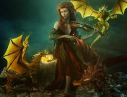 Dragon Song - Red Head Fantasy Woman 3D-Art by shibashake