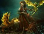 Dragon Song - Red Head Fantasy Woman 3D-Art