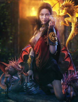Cute Girl with Dragons, Fantasy 3D-Art