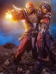 Fantasy Red Orc Magician + Warrior, 3D Iray Art