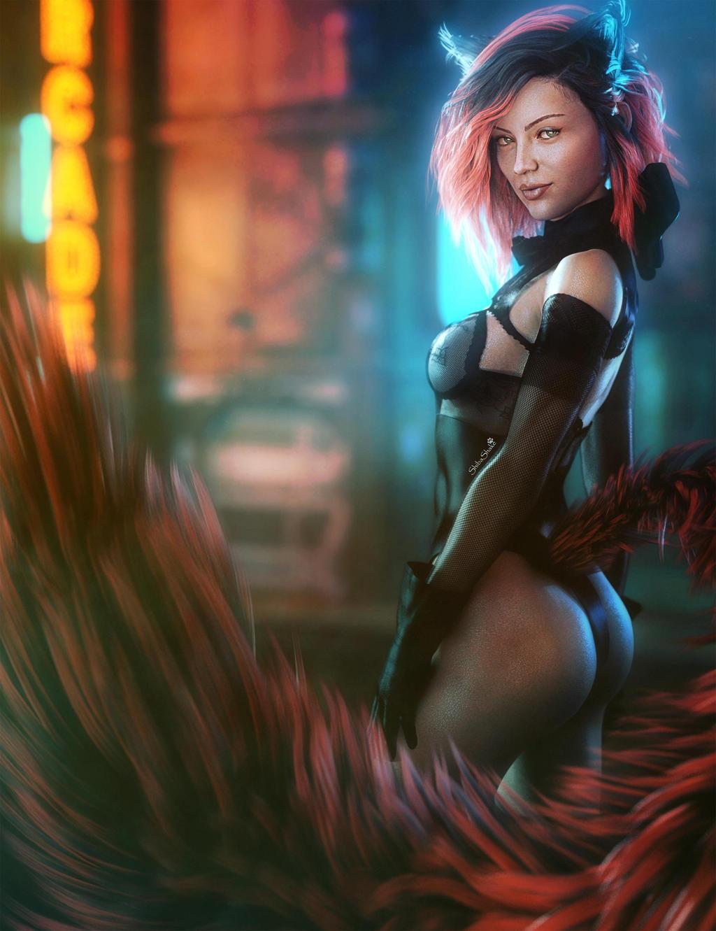 Taking a Break, Cyborg Woman Sci-Fi Fantasy Art by
