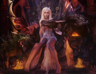 Daenerys, Mother of Dragons, GoT Fantasy Art by shibashake
