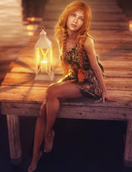Red Head Girl Sitting at the Dock, Fantasy Art
