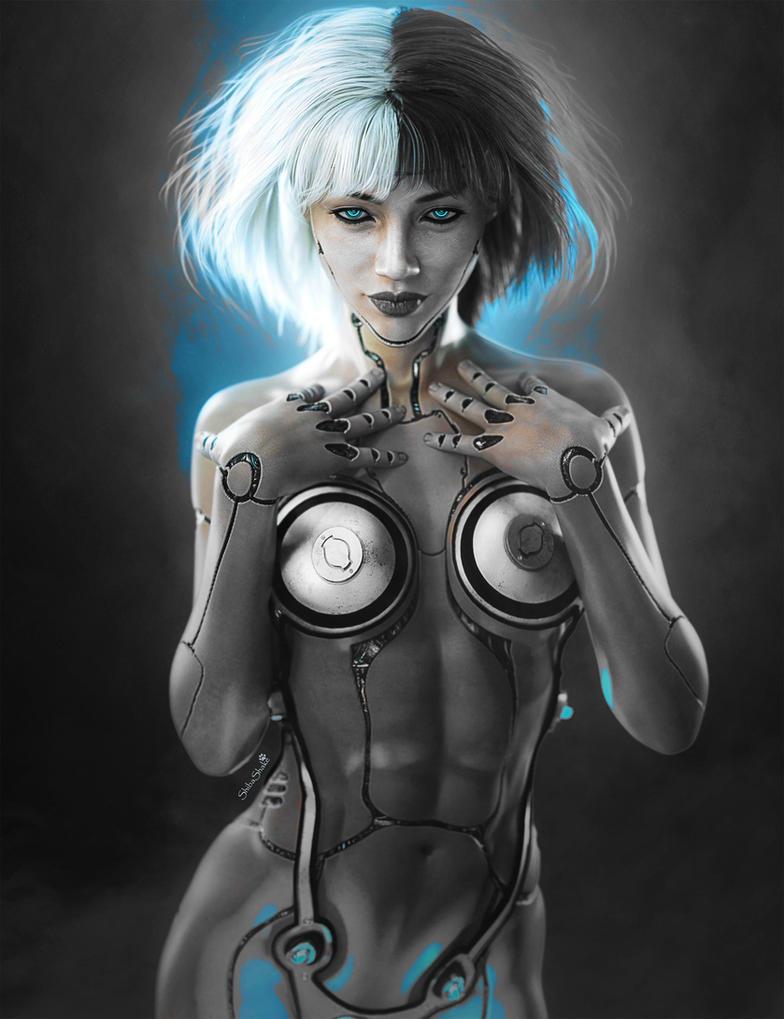 Sci-Fi Cyborg Girl Pin-Up Art, Daz Studio Iray by shibashake