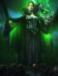 Evil Queen + Black Dragon, Fantasy Iray 3D-Art