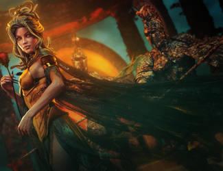 Sexy Lady Medusa + Red Rose, Fantasy 3D-Art by shibashake
