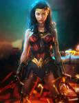 Wonder Woman Pin-Up, Fantasy DC Fan-Art by shibashake