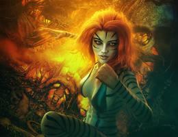 Red-Head Fighter Tiger Girl, Fantasy 3D-Art