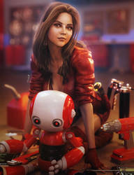 Bot Engineer, Cute Fantasy Woman 3D-Art, DS Iray