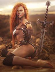 Sexy Red Head Warrior, Fantasy Woman Art, DS Iray