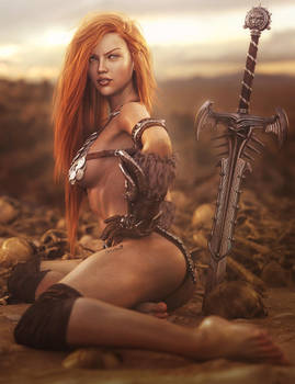 Sexy Red Head Warrior, Fantasy Woman Art, DS Iray