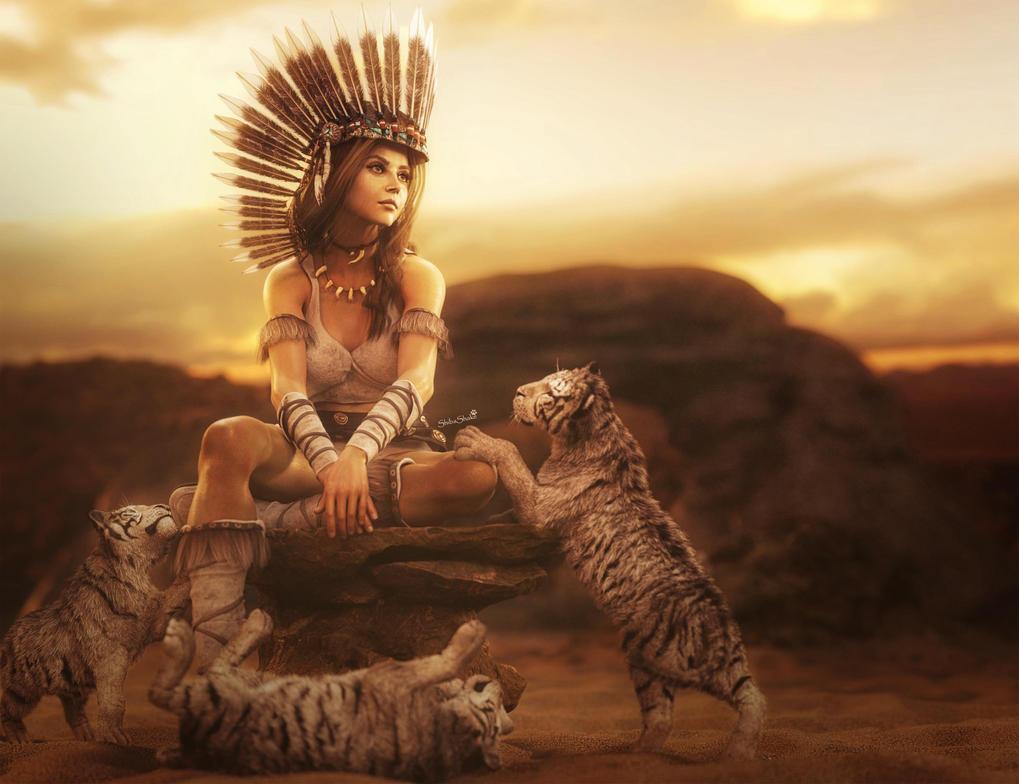 White Tiger Cubs, Native American Girl Fantasy Art by shibashake