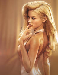 Sexy Blonde Pin-Up, Fantasy Woman Art, DS Iray