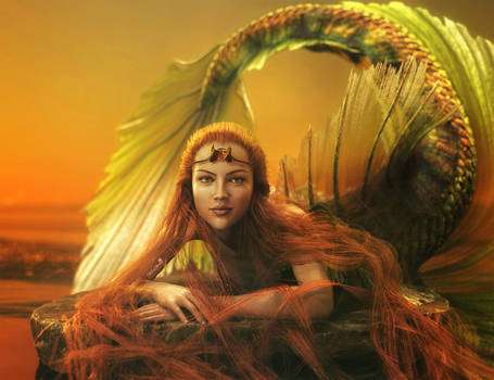 Red Head Fantasy Mermaid Girl Art, DS Iray Image