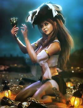 Cute Pirate Girl and Treasure, Fantasy Woman Art