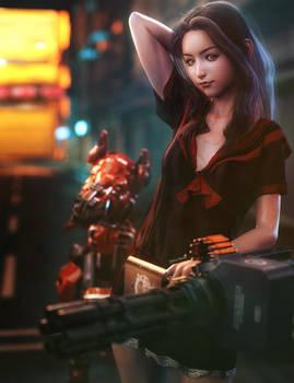 School Girl with Big Gun, Anime Sci-Fi Woman Art