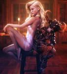 Opposites Attract, Blonde Fantasy Woman 3D-Art
