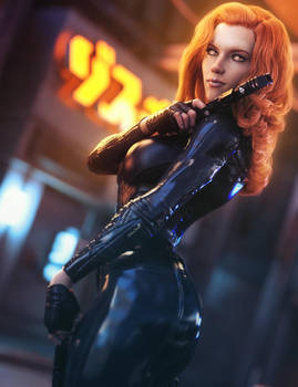 Red Head Girl with Guns, Sci-Fi Fantasy Woman Art