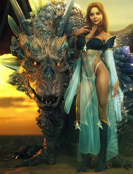 Dragon Princess, Fantasy Woman Pin-Up Art, DS Iray