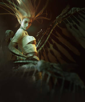 Mummy Girl with Wings, Gothic Fantasy Woman Art