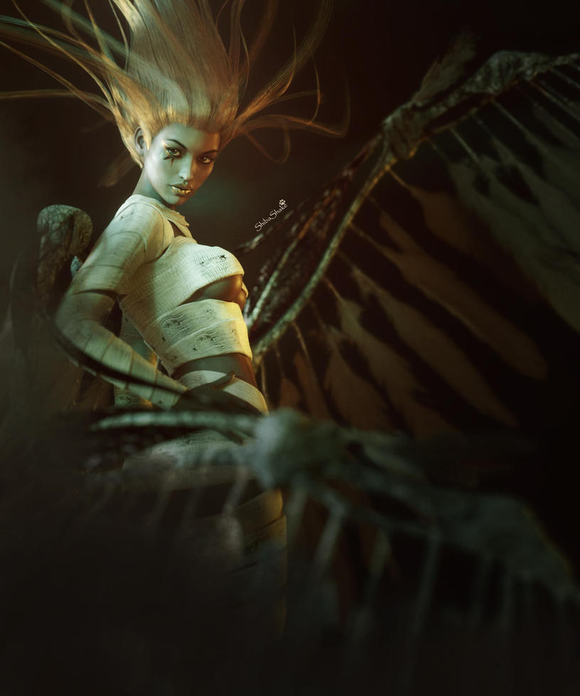 Mummy Girl with Wings, Gothic Fantasy Woman Art by shibashake