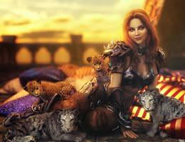 Kitty Cubs!, Fantasy Elf Girl Art, Daz Studio Iray by shibashake