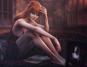Silent Night, Sexy Red Head Girl Pin-Up Art, Iray