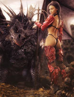 Red Knight, Fantasy Woman Art, Daz Studio Iray by shibashake