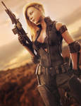 A New Day, Post-Apocalyptic Soldier Woman 3D-Art