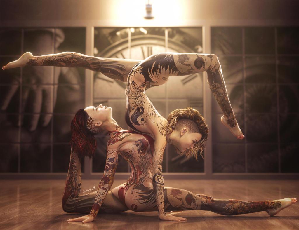Body Art, Tattoo Fantasy Women Pin-Up Art, DS Iray