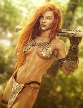 Red Sonja, Red-Head Fantasy Woman Fan-Art, DS Iray