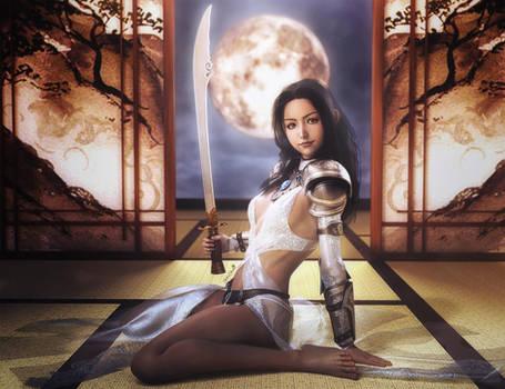 Asian Moon, Warrior Girl with Sword, Fantasy Art