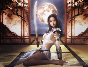 Asian Moon, Warrior Girl with Sword, Fantasy Art