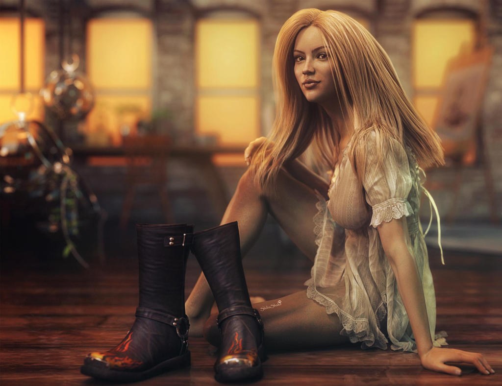 Black Boots Blonde Woman Fantasy Art Ds Iray By Shibashake