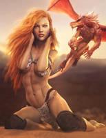 Red Dragon, Red-Head Fantasy Woman Pin-Up Art by shibashake