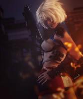 Make My Day, Fantasy Blonde Woman with Gun Art by shibashake