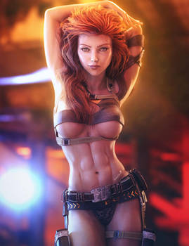 Sexy Red Head Pin-Up Girl, Fantasy Woman 3D-Art