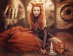 Red Head Cat Girl Pin-Up, Fantasy Woman Art, Iray
