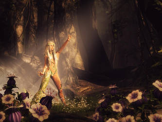Rejuvenation, Fantasy Woman Art, Daz Studio Image by shibashake