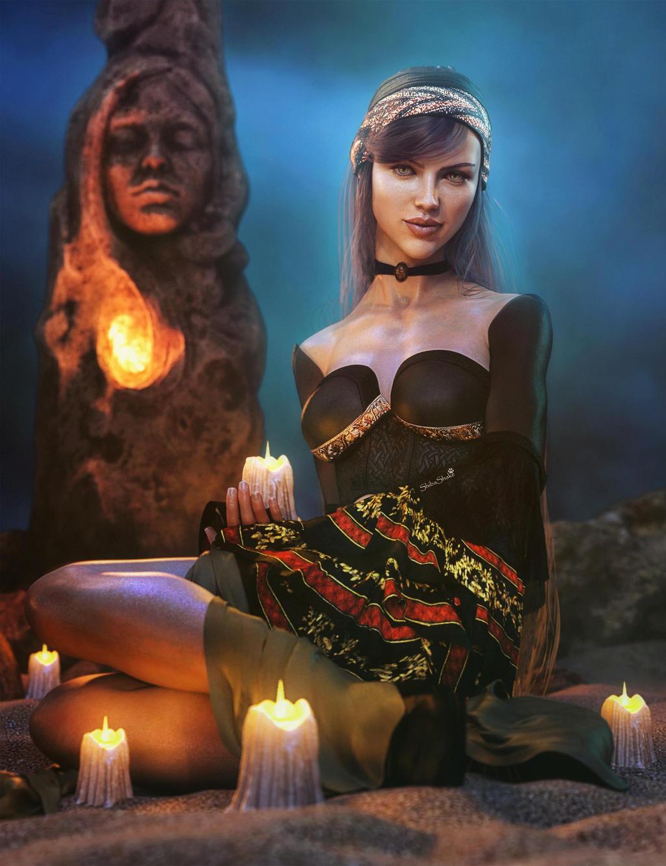 Lights in the Dark, Gypsy Woman Fantasy Iray Art
