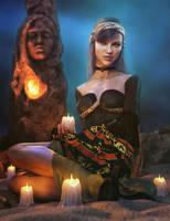 Lights in the Dark, Gypsy Woman Fantasy Iray Art by shibashake