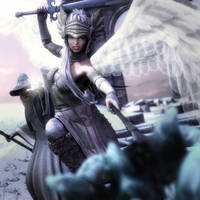 Valkyrie Warrior and Wizard, Fantasy Woman 3D-Art by shibashake