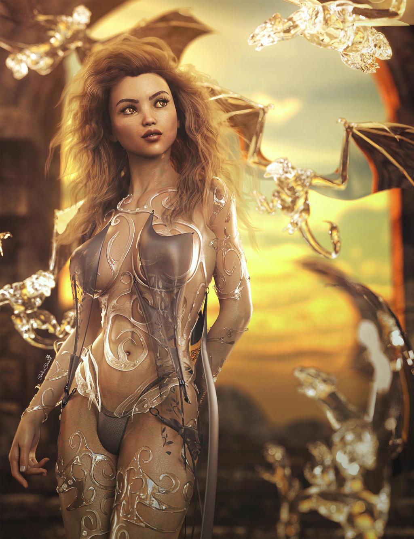 Ice Dragons, Fantasy Woman 3D-Art, Daz Studio Iray by shibashake