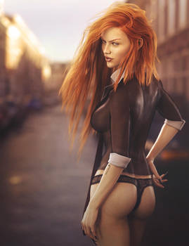 Red Head Woman Pin-Up Art, Daz Studio Iray Image