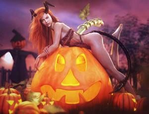 Sexy Halloween Devil Girl Pin-Up, Fantasy 3D-Art