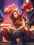 Jet-Pack Sci-Fi Girl with Gun, Fantasy Woman Art by shibashake
